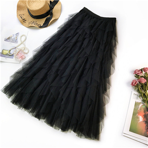 Wholesale ruffled high waist mesh skirt