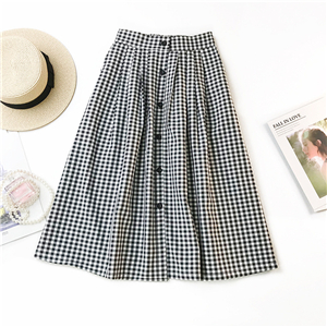 Wholesale high waist single-breasted plaid skirt