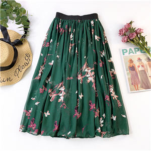 Wholesale high waist crumpled floral chiffon skirt