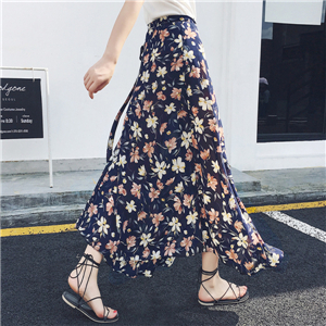 High-waist floral print chiffon cheap skirt