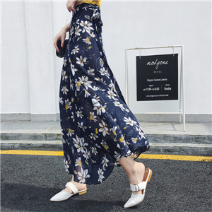 Wholesale high waist printed chiffon skirt