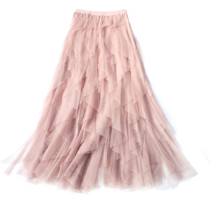 Wholesale high waist irregular mesh cake skirt