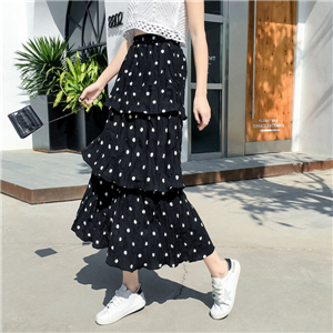 Wholesale high waist chiffon wave point ruffled pleated skirt