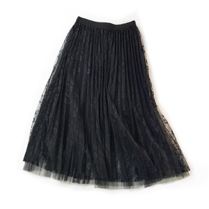 Solid color high waist pleated lace cheap skirt