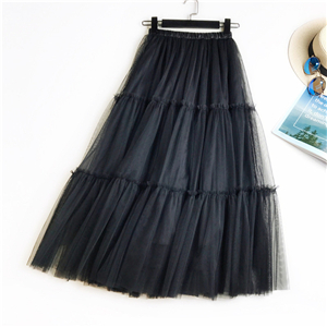 Solid color stitching mesh cheap skirt