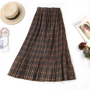 Wholesale high waist plaid printed pleated skirt