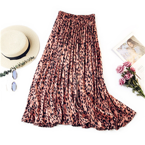 High waist leopard print pleated skirt