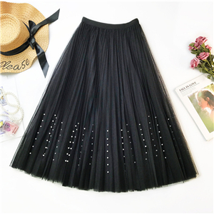 Solid color high waist beaded pleated skirt