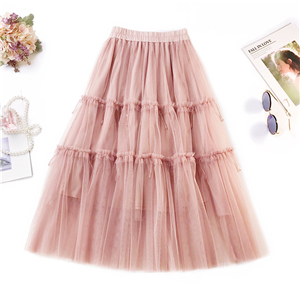 Wholesale solid color high waist beaded stitching mesh skirt