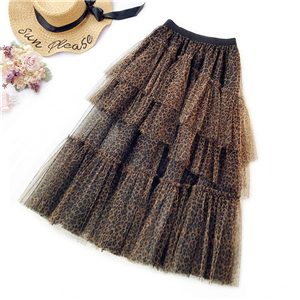 Wholesale leopard print mesh skirt
