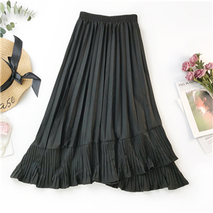 Wholesale solid color irregular ruffled chiffon tuxedo skirt