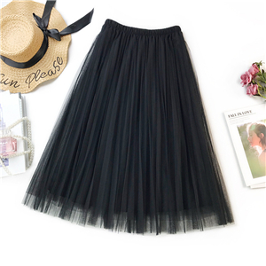 Wholesale solid color high waist chiffon skirt