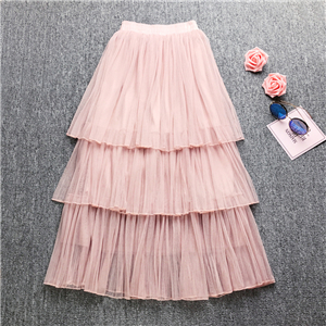 Solid color high waist mesh pleated layer cake skirt