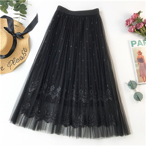 Wholesale solid color gold thread embroidery mesh pleated skirt