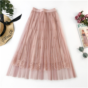 Wholesale solid color embroidery mesh skirt