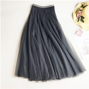 Wholesale high waist slim stitching mesh A-line skirt