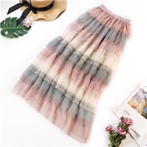 Wholesale gradient stripe mosaic rainbow skirt