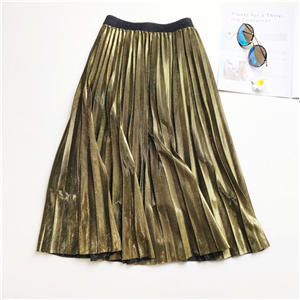 Wholesale bronzing high waist pleated skirt
