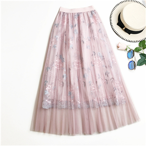 Wholesale high waist pleated mesh skirt
