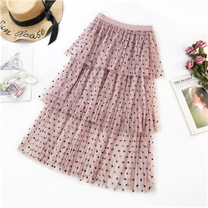 Wholesale high waist slimming mesh polka dot cake skirt