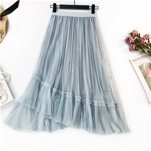 Wholesale high waist ruffled bud silk gauze skirt