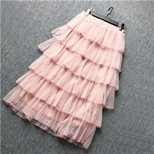 Wholesale solid color high waist ruffled mesh skirt