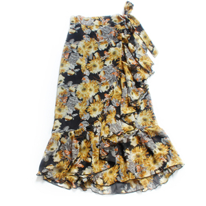 High waist strap printed ruffled irregular chiffon cheap skirt