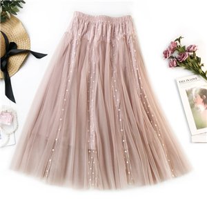 Wholesale high waist wave mesh gauze skirt