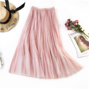 Wholesale color matching mesh pleated skirt