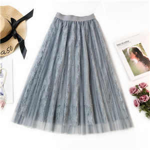 Mesh stitching beaded cotton cheap skirt
