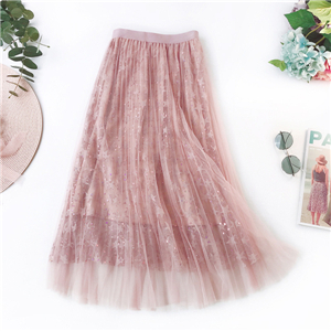 China cheap high waist beaded stitching mesh skirt