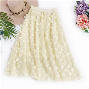 Chinese cheap floral embroidery chiffon skirt