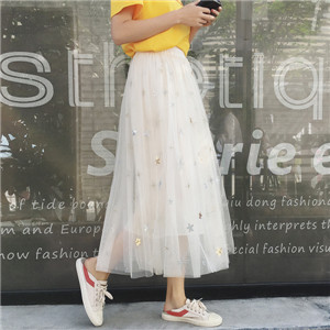 Wholesale starry embroidery mesh skirt