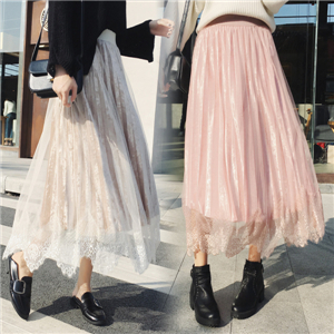 Wholesale solid color lace stitching gold velvet skirt