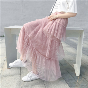 Wholesale high waist wooden ear mesh skirt