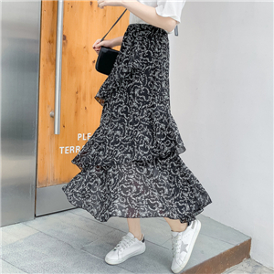 Wholesale chiffon floral irregular ruffled cake skirt