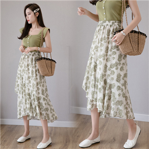 Chiffon floral irregular ruffle cheap skirt