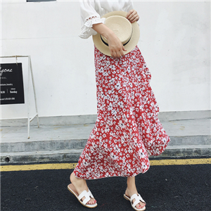 Wholesale irregular ruffled printed chiffon skirt