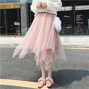Wholesale solid color high waist mesh skirt
