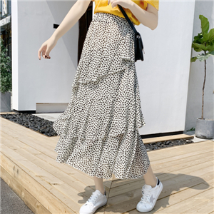 Wholesale high waist point irregular ruffle skirt