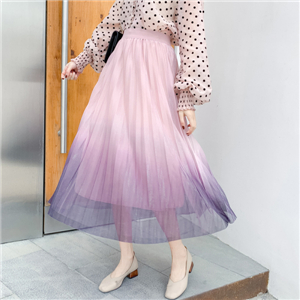 Wholesale high waist slimming gradient mesh skirt