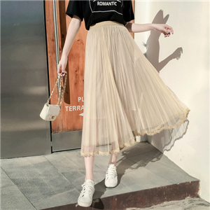 High-waist lace stitching mesh pleated skirt