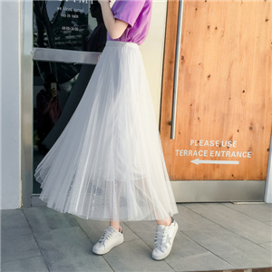 High-waist mesh beaded pleated skirt