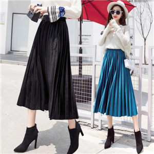 High waist solid color gold velvet pleated skirt