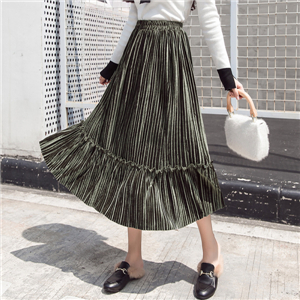 Wholesale high waist gold velvet wood ear stitching pleated skirt