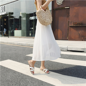 Solid color chiffon pleated cheap skirt