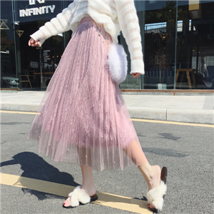 Wholesale high waist beaded mesh tassel pleated skirt