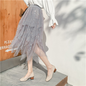 Star sequins irregular mesh cheap skirt