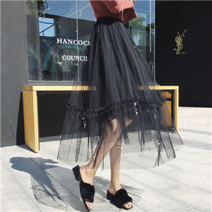 Wholesale high waist ruffled beaded mesh pleated skirt