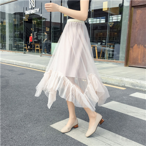 Solid color high waist irregular mesh cheap skirt